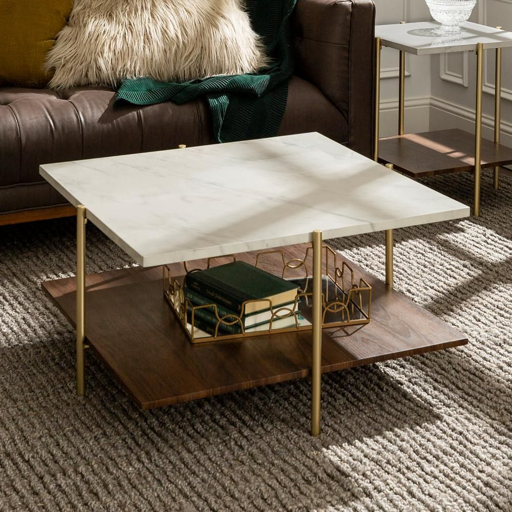 40++ White marble coffee table with gold legs ideas