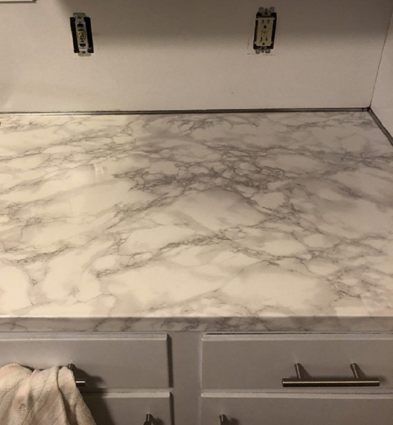 Ez Faux Decor Instant Diamond White Marble Countertop Granite Film