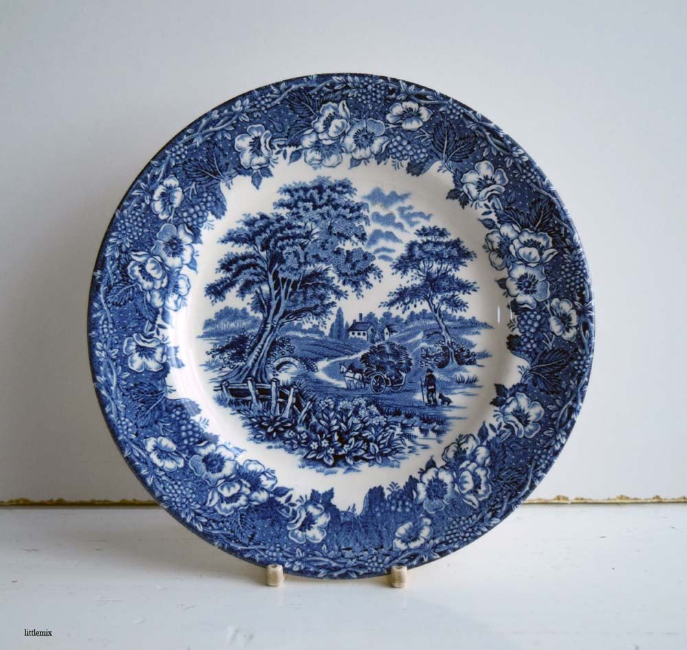 Vintage English Ironstone Tableware Ltd Blue and White Transferware Small Cake Plate/Side Plate by & Vintage English Ironstone Tableware Ltd Blue and White Transferware ...