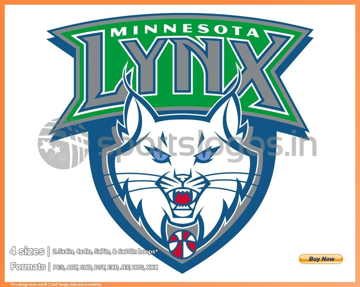 Minnesota Lynx Basketball Sports Embroidery Logo In 4 Sizes Spln002697 Sports Logos Embroidery Vector For Nfl Nba Nhl Mlb Milb And More Wnba Embroidery Logo Lynx