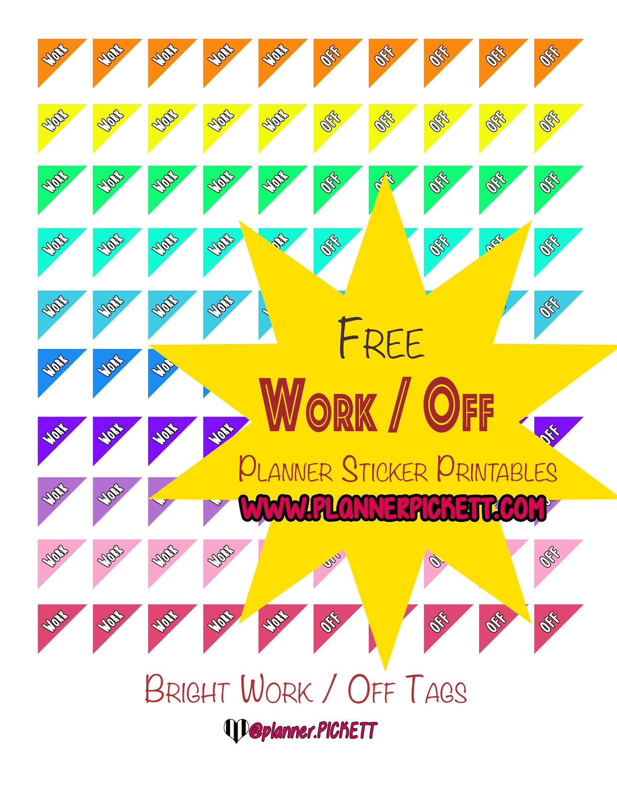 PlannerPickett Free Work Schedule Tags Planner Sticker Printable