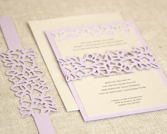 Petal Cutout Wedding Invitations Unique By Timelesspaper 3 50