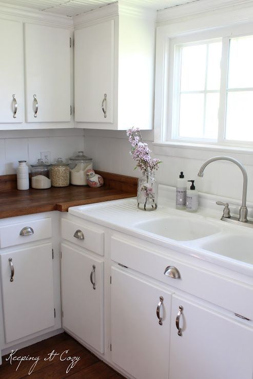 White Cabs Wood Counters And I Love The Sink With Built In Mesmerizing Painting Old Kitchen Cabinets White