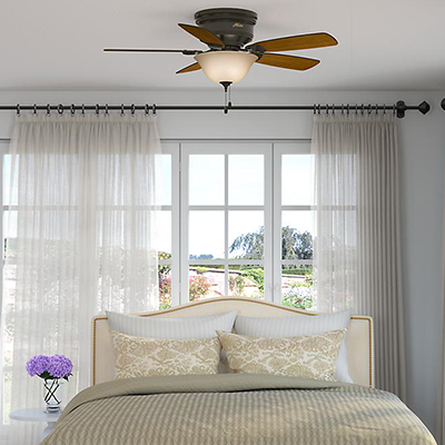 Use A Ceiling Fan With Light For Bedroom For Energy Efficient