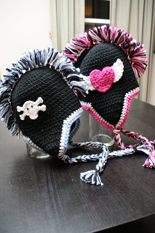 Skull skulls mohawk mohawks hat black pink crochet