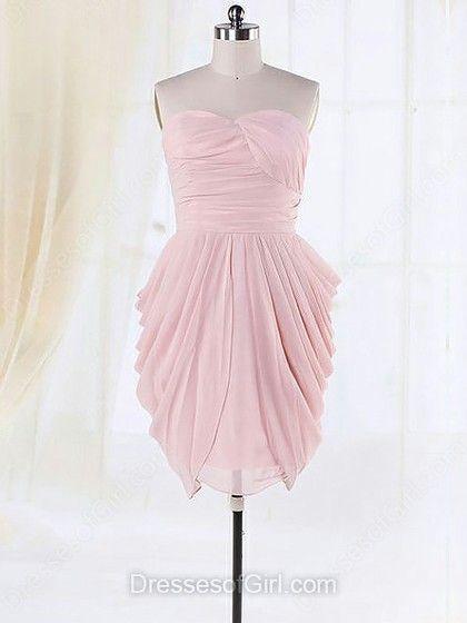 Pretty Sweetheart Pleats Chiffon Sheath/Column Pink Bridesmaid Dresses - dressesofgirl.com