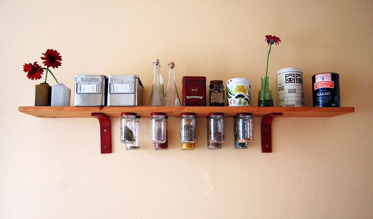 How To Make Hanging Mason Jar Shelves Small Kitchen Storage Mason Jar Shelf Diy Projects Shelves