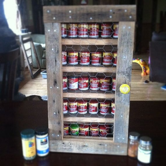 Rustic Reclaimed Barn Wood Hanging Spice Cabinet   Reclaiming America $75