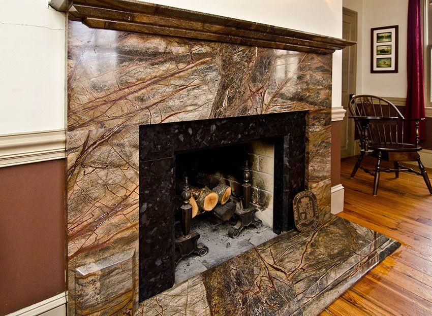 rainforest green granite fireplace surround