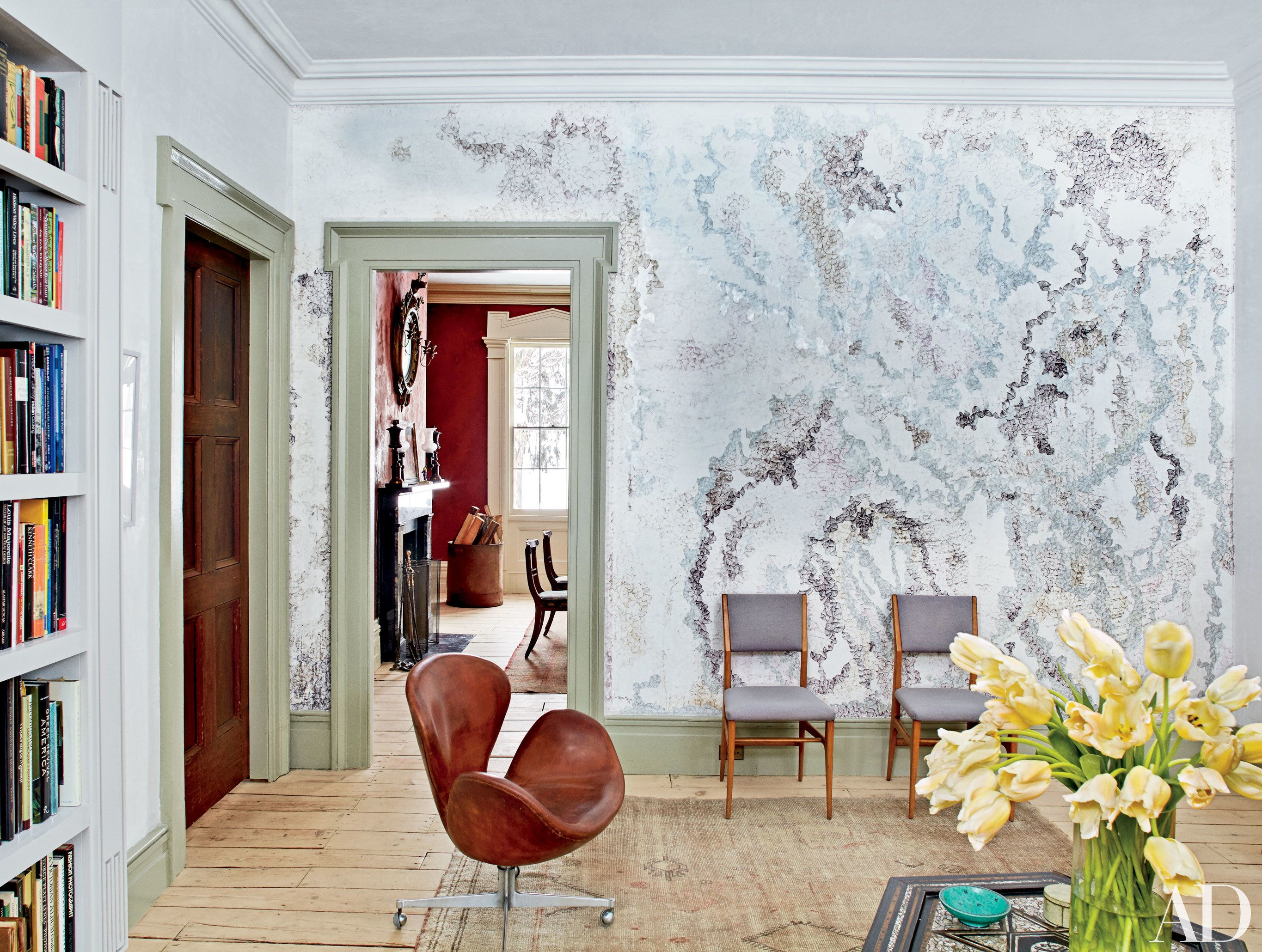 Tour the Greek Revival House of Photographer Pieter Estersohn Photos | Architectural Digest Library Ink on plaster drawing looks like wallpaper artist Tanya minhas