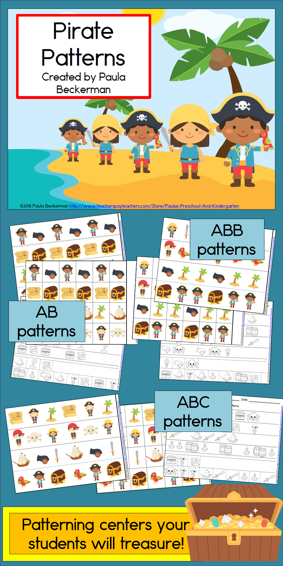 Pirate Patterns Math Center with AB, ABC, AAB & ABB Patterns ...