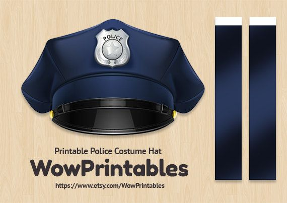 image relating to Printable Police Hat referred to as Law enforcement Dress Hat - PRINTABLE Down load - simple in direction of deliver