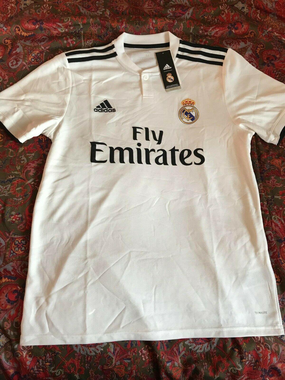 8ce5c358a Adidas Men s 2018 19 Real Madrid Home Stadium Soccer Jersey (White Black)
