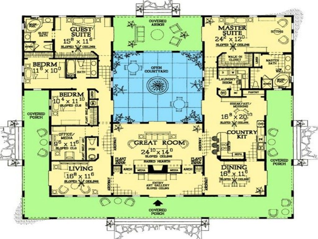 Floor plan u shaped house plans with pool in the middle courtyard