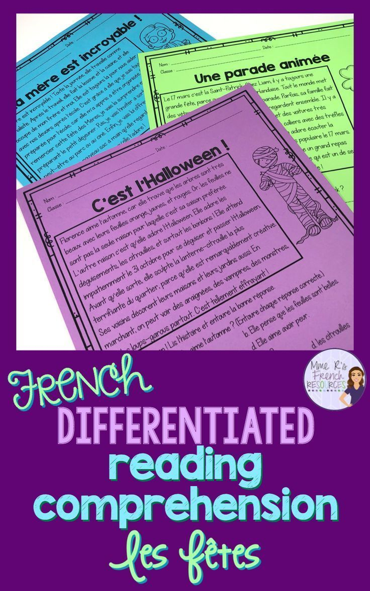 French reading comprehension for beginning students