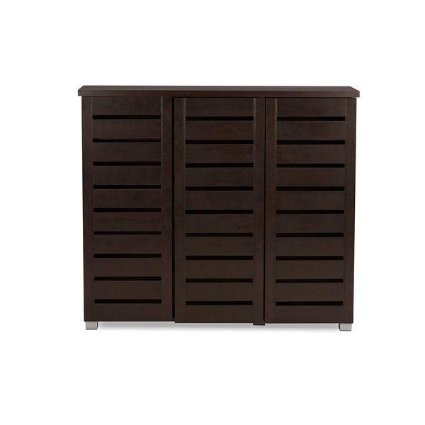 Baxton Studio Redman Contemporary 3-door Dark Brown Shoe Cabinet