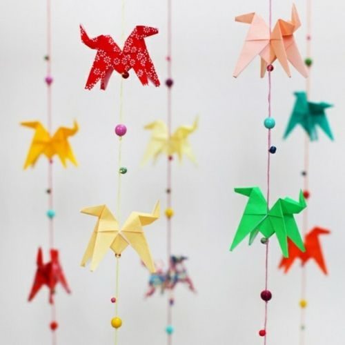 Origami Folding Flowers Stars And Animals As Nursery Room Decoration
