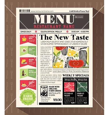 Restaurant Menu Design Template In Newspaper Style Vector By
