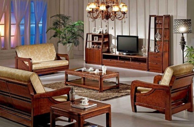 Wooden Sofa Furniture Set Designs For Small Living Room With Tv