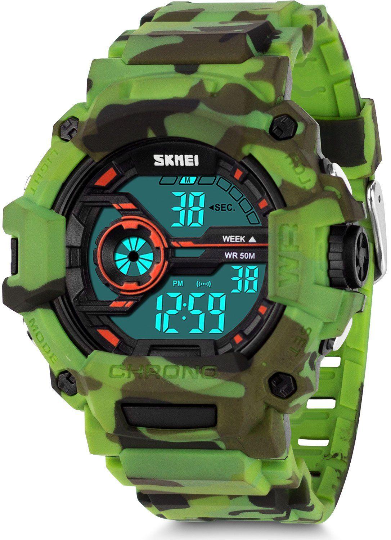 Boys Camouflage Digital Sports Watch Aposon LED Screen