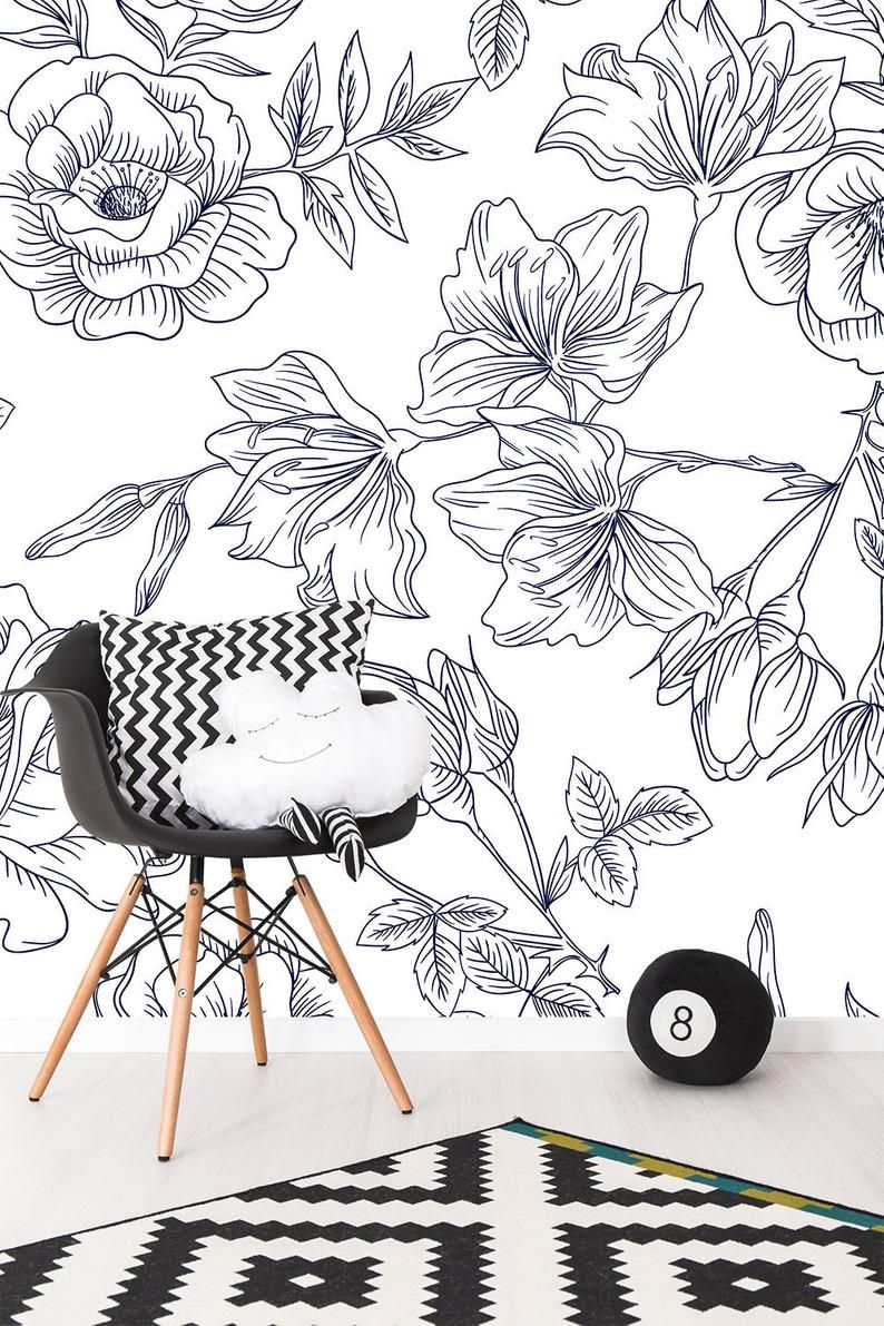 Floral Wallpaper Blue And White Flower Pattern Wallpaper Etsy Floral Wallpaper Floral Pattern Wallpaper Self Adhesive Wallpaper
