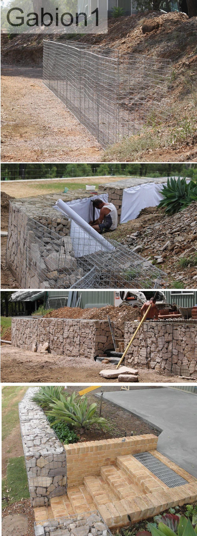 gabion wall with brick steps