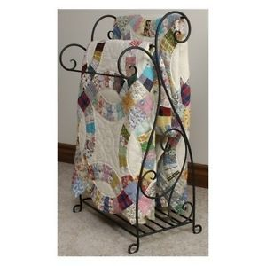 Iron-Blanket-Rack-Antique-Quilt-Storage-Metal-Display-Vintage-Style-Country-Home