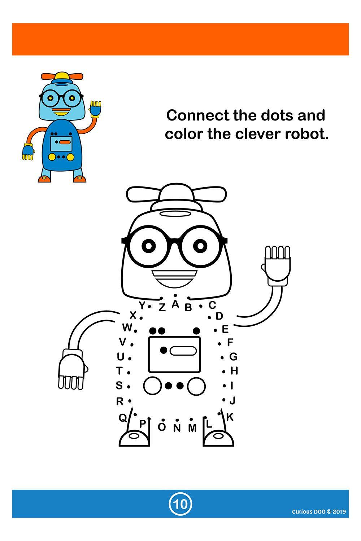 Robots Connect The Dots Teaching The Alphabet Alphabet Printables Dots [ 1500 x 1000 Pixel ]