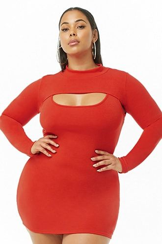 d8a00e471d2 Plus Size Mock Neck Combo Dress