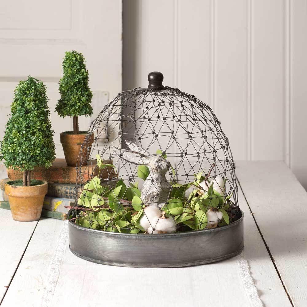 Large Chicken Wire Cloche Topiaries Set of 2 Farmhouse Decor