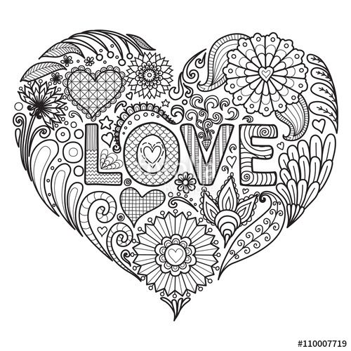 Coloring page adult love heart book concentric for Love mandala coloring pages