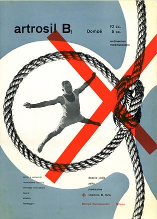 By Franco Grignani (1908-1999), c.1949, Artrosil B1, Dompé Pharmaceutical, Italy.