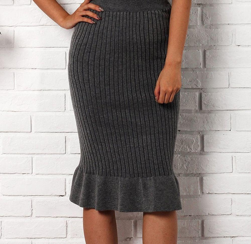 60bb4f281a High Waist Women Pencil Skirt Autumn Winter Ruffle Knitted Knee Length  Elastic #HighWaistChina #StraightPencil #Formal