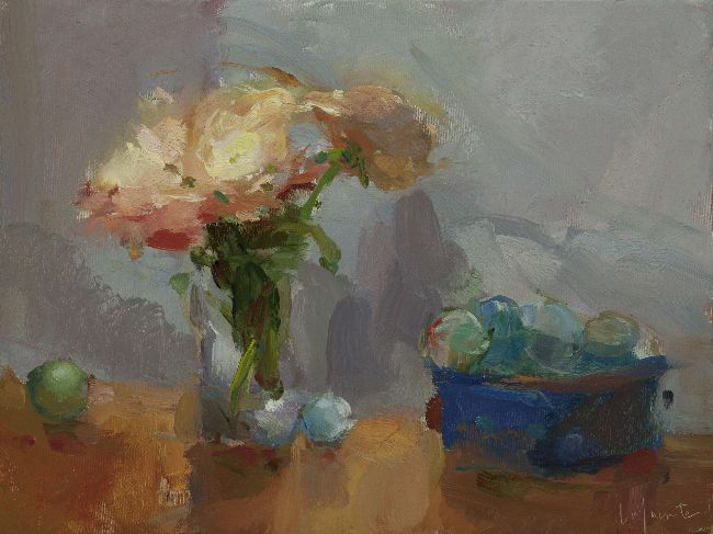 Christine Lafuente, Peonies and Glass Floats, 2013, oil on canvas, 9 x 12 inches