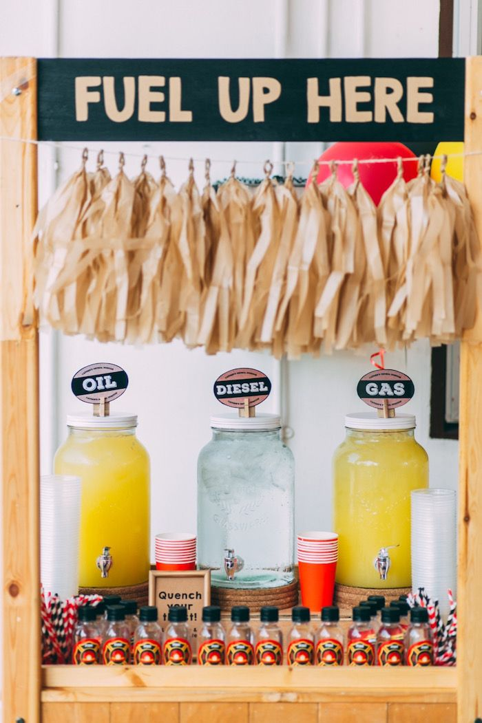 Fire truck fuel drink station from Rustic Firefighter Birthday Party at Kara's…