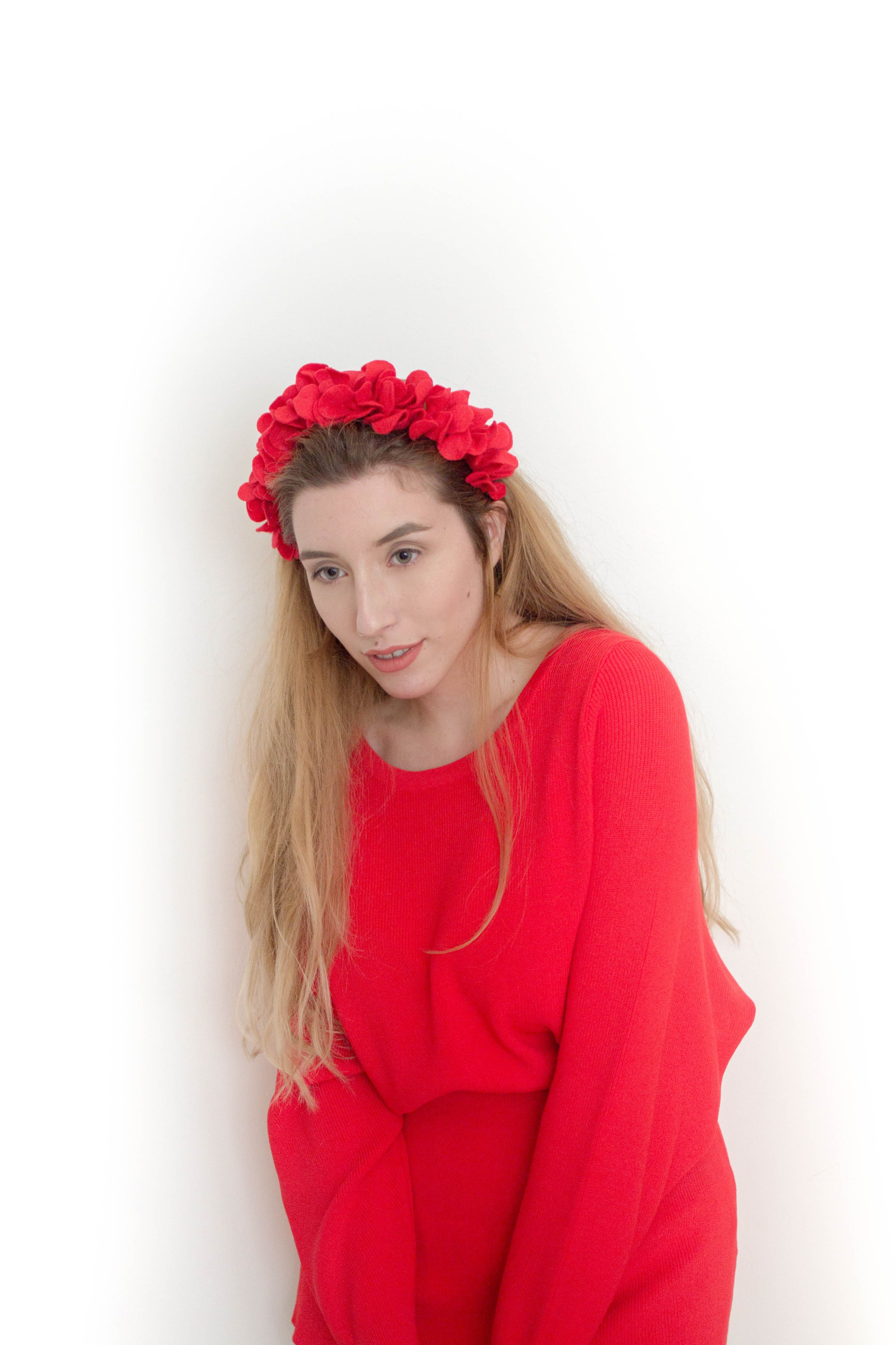 Red Headpiece Hair Band Flowers Crown Red Leaf Headpiece Woman Headband Hair Accessory For Girl Or Woman Re Boho Bridesmaid Red Flower Crown Red Headband