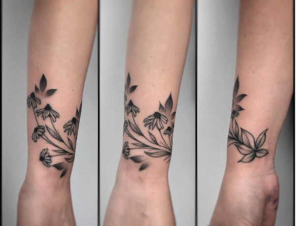 Black Flower Tattoos Wrist: Wrist Tattoo, Black Eyed Susan Tattoo, Flower Tattoo, Wrap