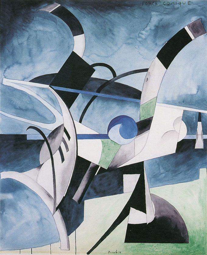 Francis Picabia | Force Comique, 1913-14, aquarelle et graphite sur papier | Berkshire Museum