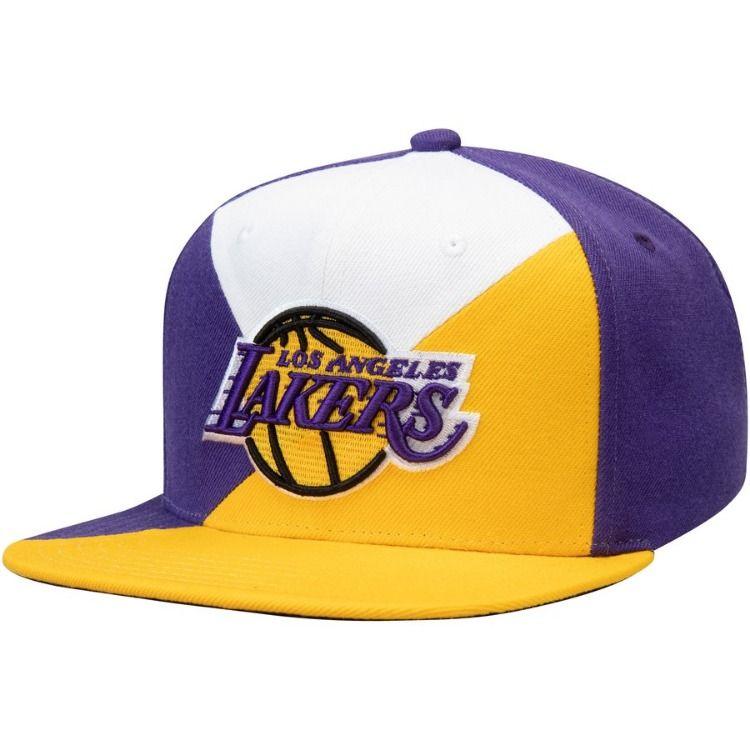 8770b8887aa Men s Los Angeles Lakers Mitchell   Ness Purple Gold Quadriga Adjustable Snapback  Hat