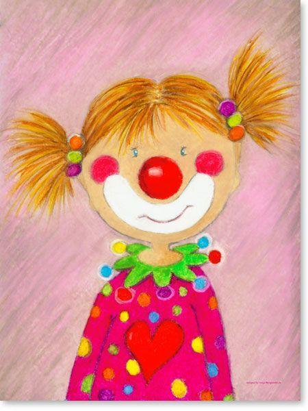 pastellbild clown m dchen pepina wandbilder f rs. Black Bedroom Furniture Sets. Home Design Ideas