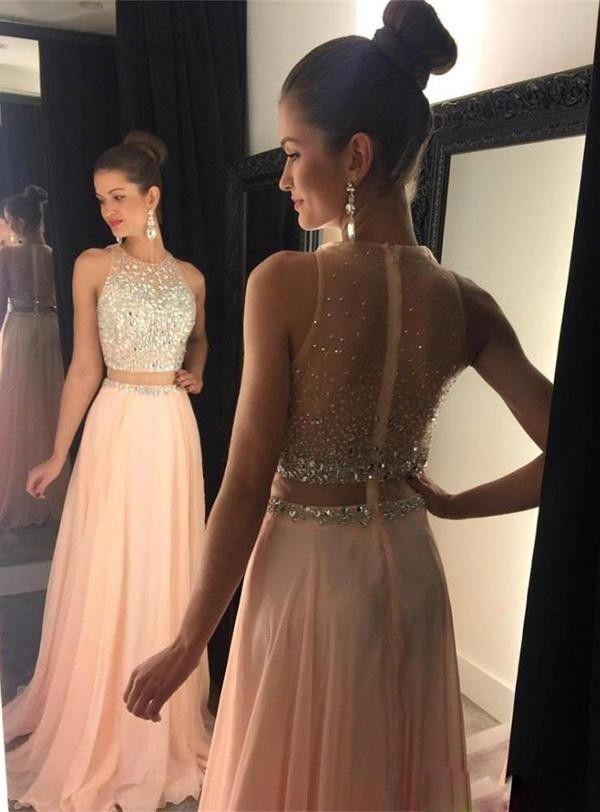 가운 드 야회 핑크 파티 드레스 2016 높은 목 민소매 스윕 기차 라인 쉬폰 지퍼 위로 이브닝 dress