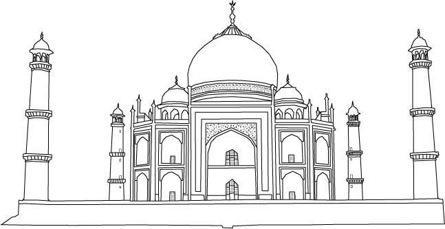 Taj mahal line art colouring pages taj mahal drawing for for Taj mahal coloring page