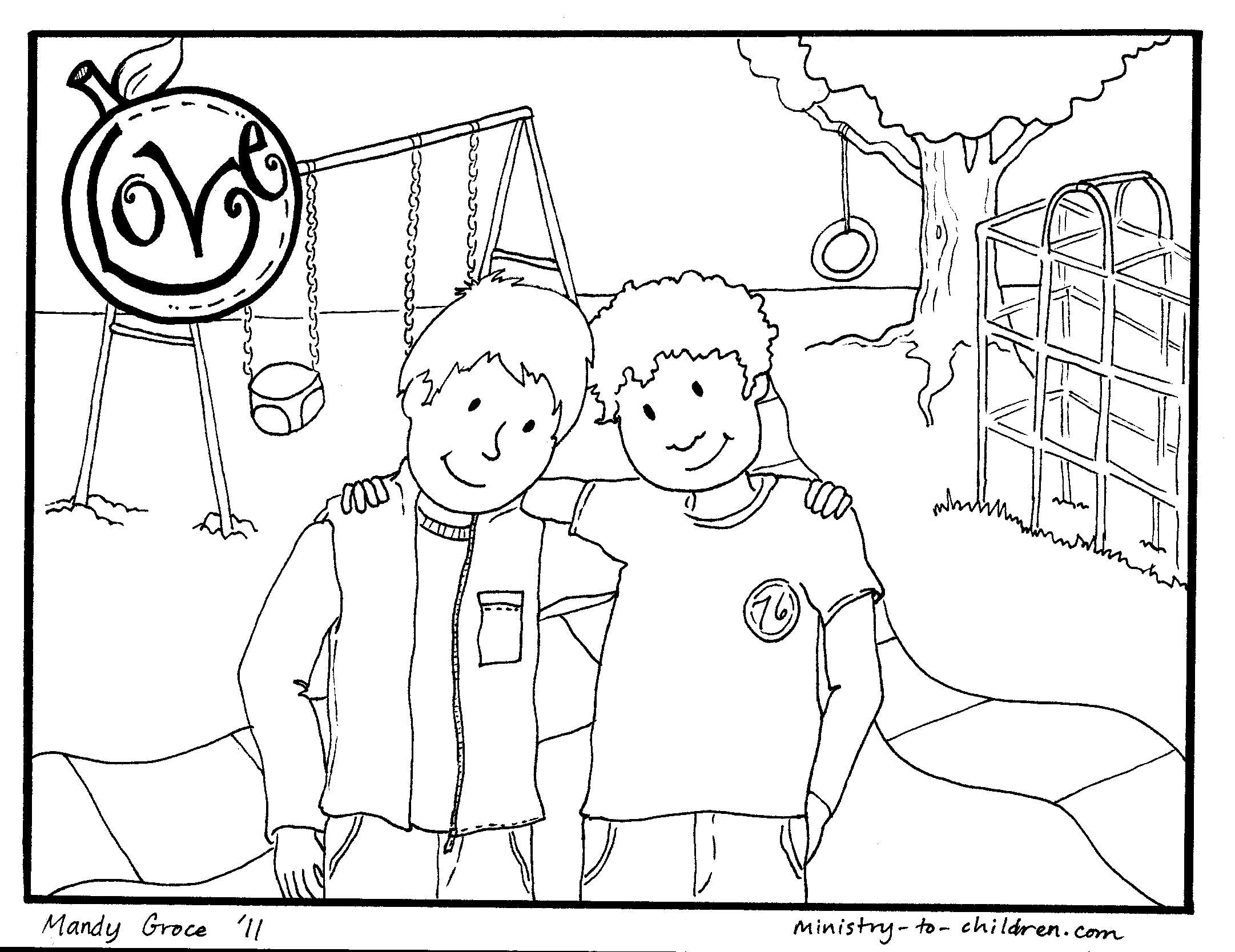 Love Coloring Page for Kids Fruit