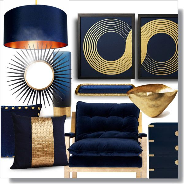Blue Gold Modern By Ellenawaters On Polyvore Featuring Interior Interiors