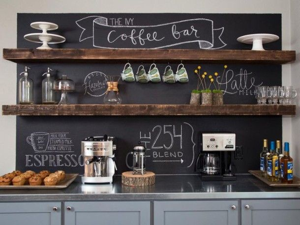 Chalk Board Over Coffee Bar! exactly as I picture it will be