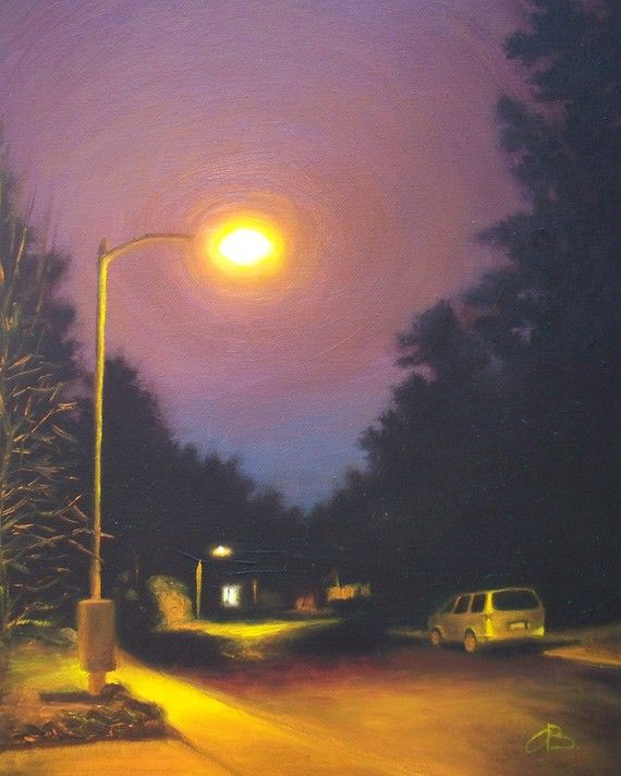 Cityscape Art Print Night View Orange Street Light Purple Sky Oil Painting