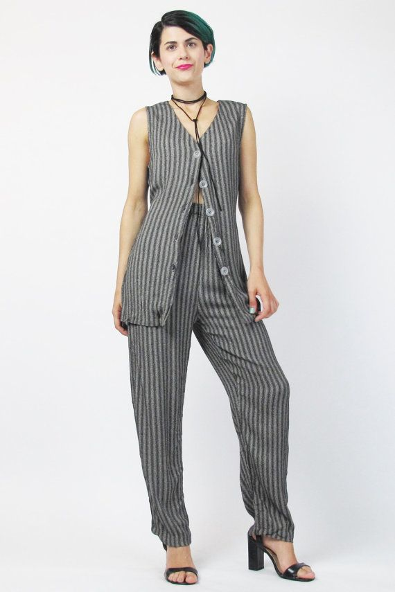 90s Vest And Pants Set Matching Outfit Womens Pinstripe Suit Two