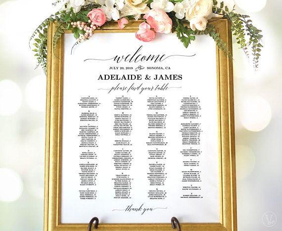 Wedding seating chart poster printable sign template alphabetical also editable pdf table arrangement diy rh pinterest
