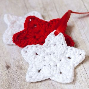 Christmas Puff Star Ornament | AllFreeCrochet.com these would make good toppers for wrapped gifts