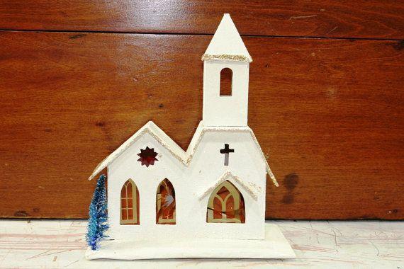 Vintage Putz Glitter Church Made to Illuminate by vintagediana72, $15.00